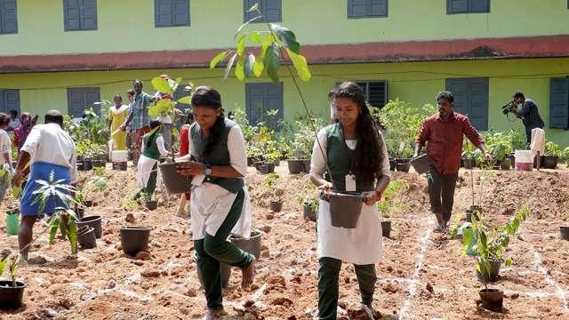 Students in Miyawaki planting session