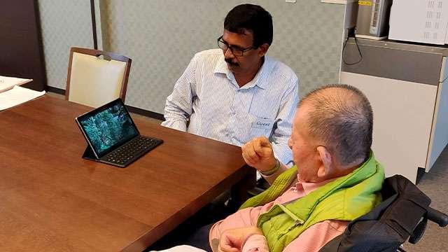 Prof. (Dr) Akira Miyawaki watching the videos of Miyawaki forests in Kerala