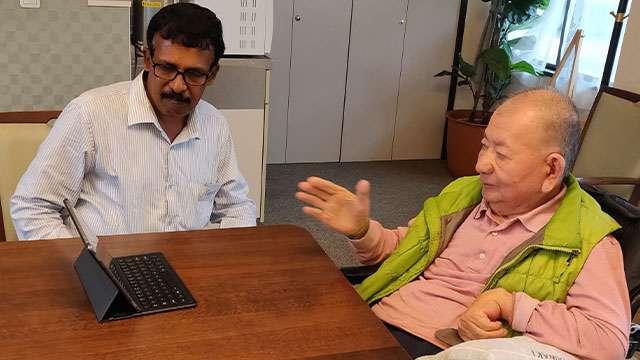 M. R. Hari and Prof. Akira Miyawaki discussing about Miyawaki forests in Kerala